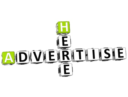 advertise: 3D Advertise Here Crossword on white background