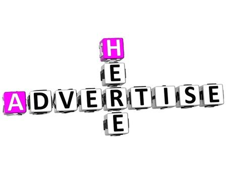 3D Advertise Here Crossword on white background photo