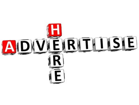 3D Advertise Here Crossword on white background Stock Photo - 9887693