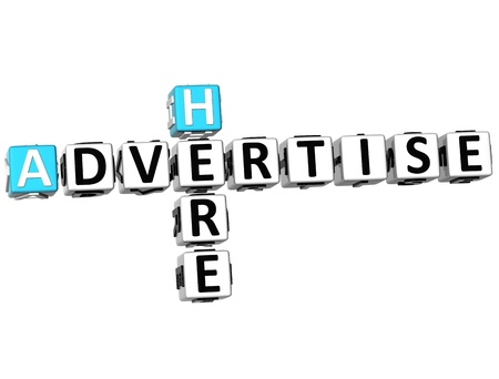 click here: 3D Advertise Here Crossword on white background