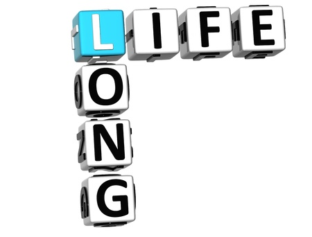 long life: 3D Long Life Crossword on white background