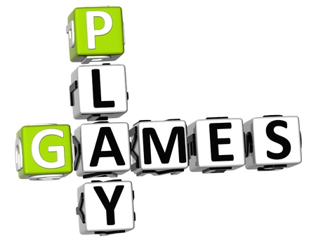 3D Play Games Crossword on white background photo