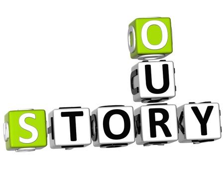 story: 3D nuestro crucigrama de historia sobre fondo blanco Foto de archivo