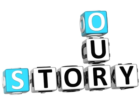 3D Our Story Crossword on white background photo