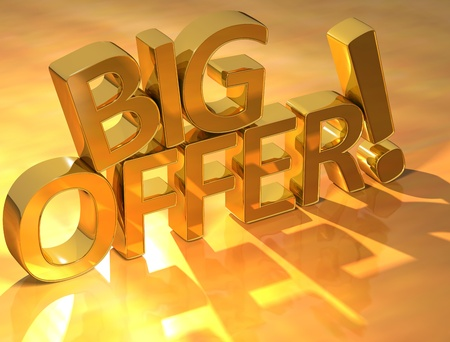 3D Big Offer Text on yellow background photo
