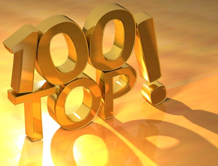 3D Top Hundred Text on yellow background Stock Photo - 10028166