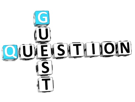 webmater: 3D Question Guest Crossword on white background Stock Photo