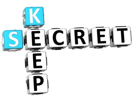 secured: 3D Secret Key Crossword on white background