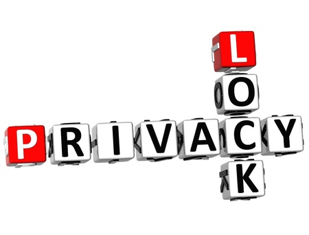 3D Privacy Lock Crossword on white background Stock Photo - 10028211