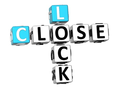 secured: 3D Lock Close Crossword on white background