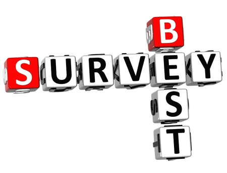 3D Best Survey Crossword  on white background Stock Photo - 10388986