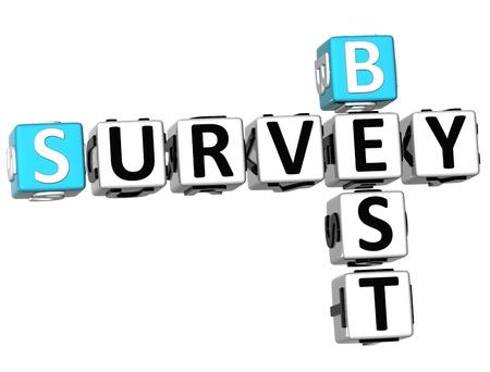 3D Best Survey Crossword  on white background Stock Photo - 10388984