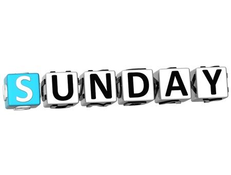 weekday: 3D Sunday Block Text on white background