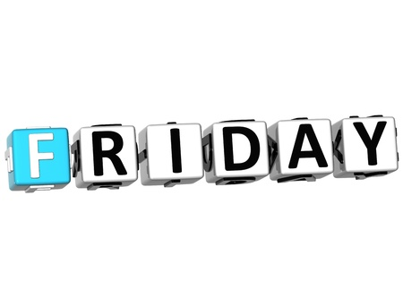 weekday: 3D Friday Block Text on white background Stock Photo