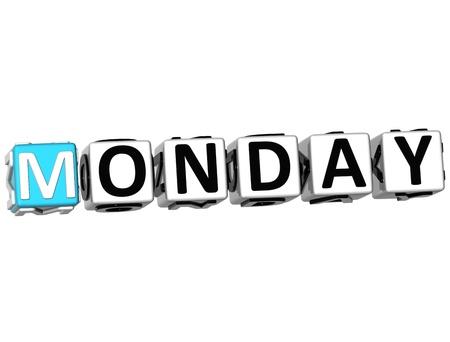 weekday: 3D Monday Block Text on white background Stock Photo