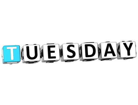 weekday: 3D Tuesday Block Text on white background