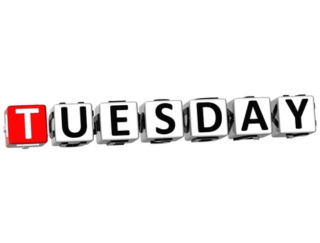 thursday: 3D Tuesday Block Text on white background