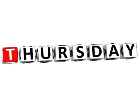 weekday: 3D Thursday Block Text on white background Stock Photo
