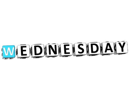 wednesday: 3D Wednesday Block Text on white background
