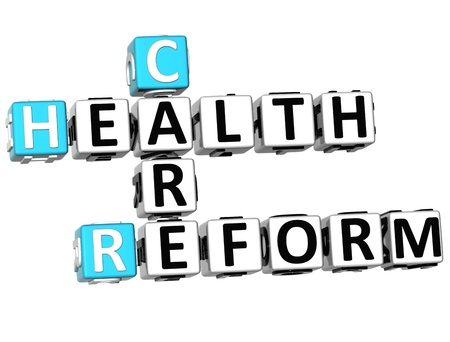 3D Health Care Reform Crossword on white background photo