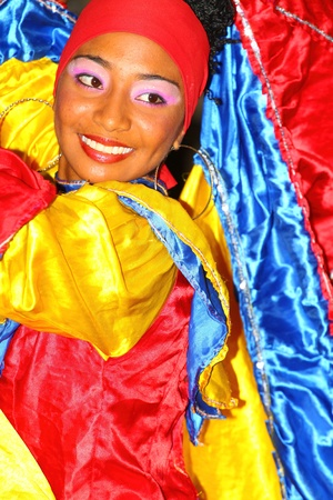 Colombian traditional dance at the Parade in Cartagena de Indias.August 15, 2011 in Colombia.