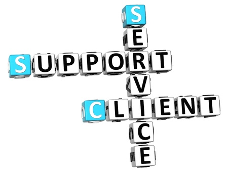 client service: 3D Support Client Service Crossword on white background