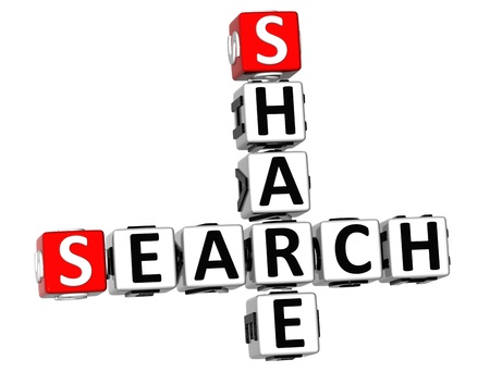 3D Share Search Crossword on white background photo