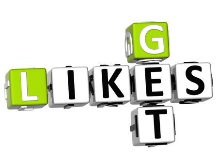 3D Likes Get Crossword on white background photo