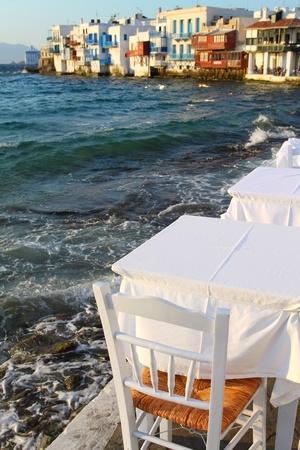 Small tavern in Small Venice of Mykonos island photo