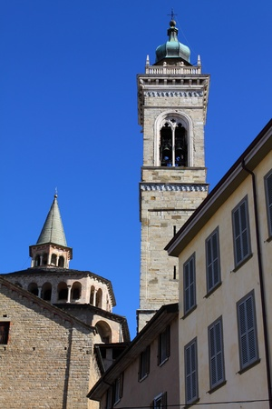 Basilica and tower bell in Bergamo, Lombardy, Italy  photo