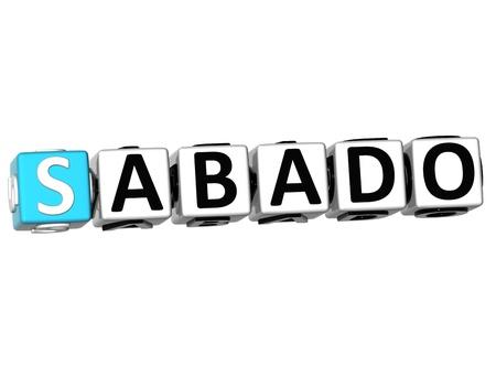 weekdays: 3D Sabado Block Text on white background
