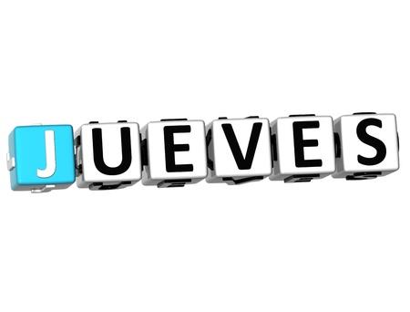 weekdays: 3D Jueves Block Text on white background