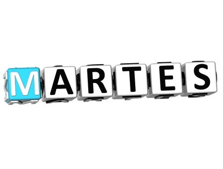 weekdays: 3D Martes Block Text on white background Stock Photo