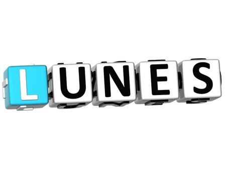 weekdays: 3D Lunes Block Text on white background