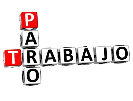 trabajo: 3D Trabajo Paro Crossword on white background Stock Photo
