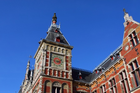 Holland, Amsterdam, view of the Central Railway Station facade  photo