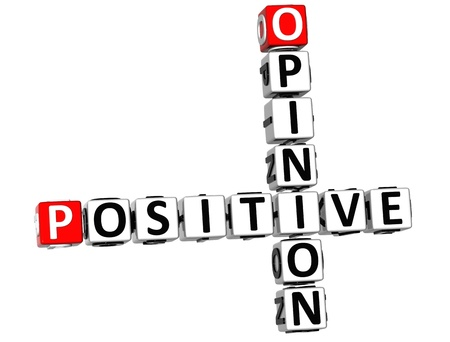 3D Positive Opinion Crossword on white background photo