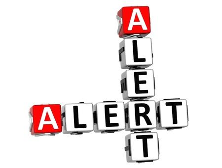 protecting your business: 3D Crucigrama Alerta Alerta sobre fondo blanco