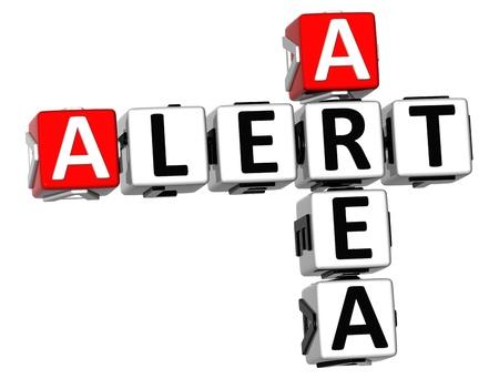 protecting your business: Crucigrama 3D �rea de Alerta sobre fondo blanco Foto de archivo