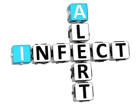 infect: 3D Infect Alert Crossword on white background