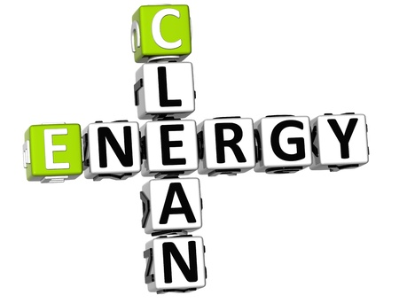 3D Clean Energy Crossword on white background photo