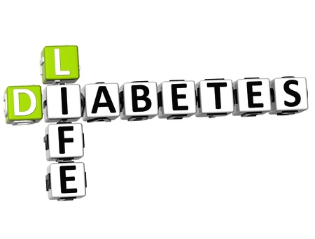 3D Diabetes Life Crossword on white background photo