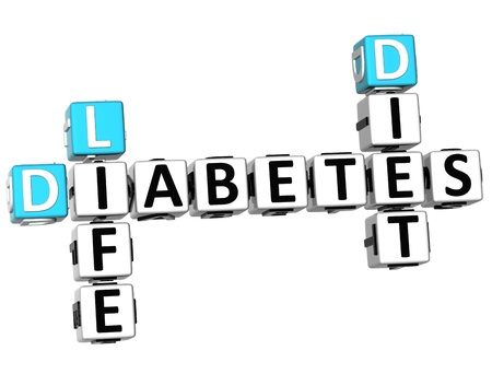diagnosed: 3D Diabetes Life Diet Crossword on white background Stock Photo