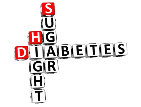 causes: 3D Diabetes Hight Sugar Crossword on white background