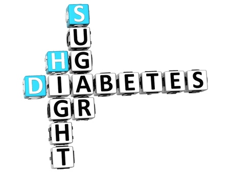3D Diabetes Hight Sugar Crossword on white background photo