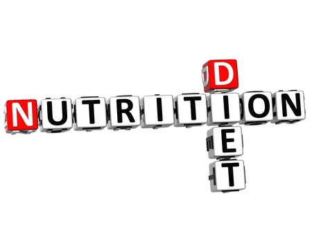 3D Nutrition Diet Crossword on white background photo