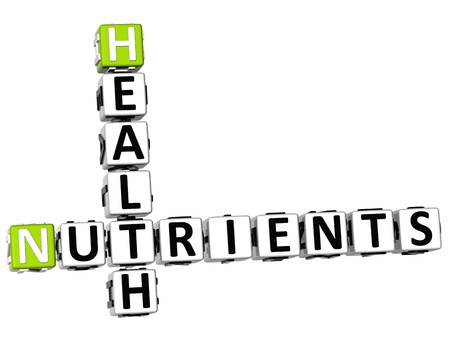 nutrient: 3D Health Nutrients Crossword on white background