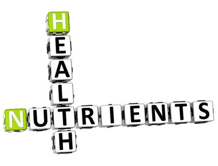 nutrientes: 3D Nutrientes Salud crucigrama sobre fondo blanco