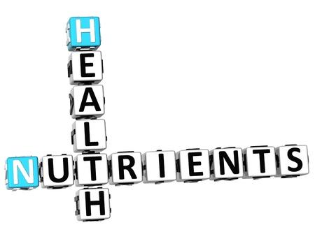 nutrients: Salud 3D nutrientes Crucigrama sobre fondo blanco