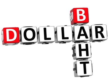 dinar: 3D Dollar Baht Crossword on white background